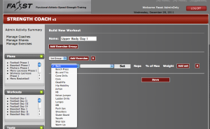 Build Workout Screen Shot